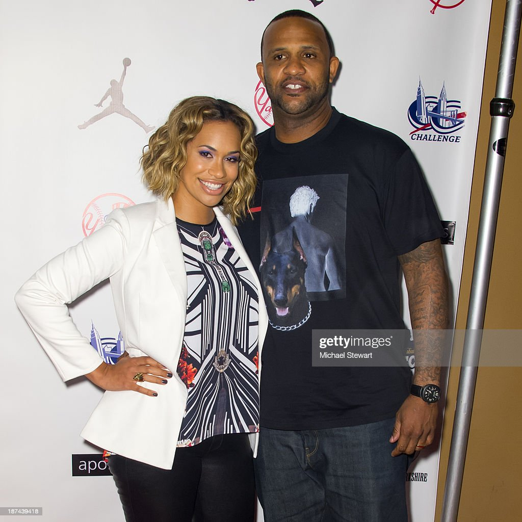 Amber Sabathia (L) and New York Yankees player CC Sabathia attend the PitCCh In Foundation 2013 Challenge Rules Party at Luxe at Lucky Strike Lanes on November 8, 2013 in New York City.