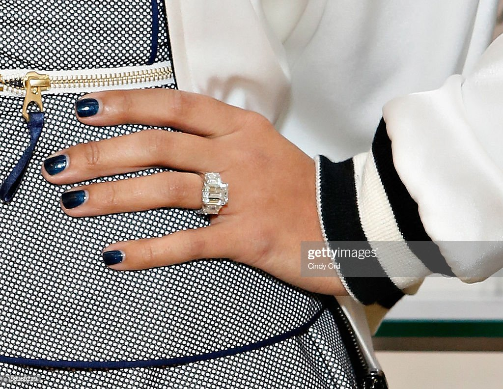 Amber Sabathia (ring and nail polish detail) attends the CC And Amber Sabathia 'New York Yankees' Fragrance Event at Lord And Taylor on December 12, 2012 in New York City.