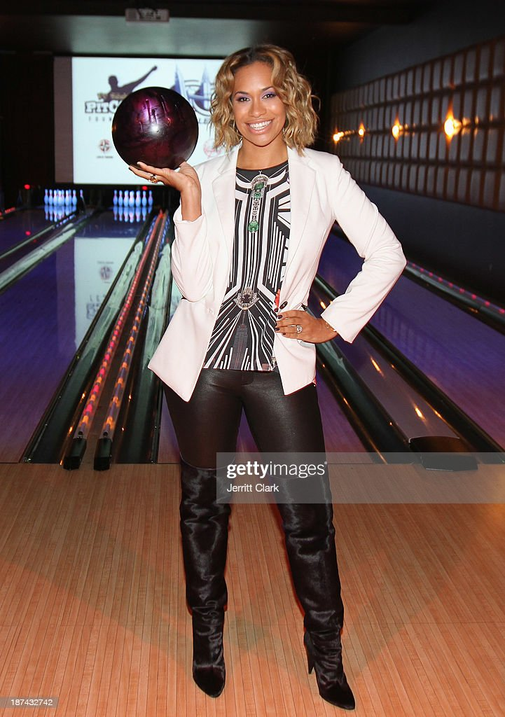 Amber Sabathia bowls at the PitCCh In Foundation 2013 Challenge Rules Party at Luxe at Lucky Strike Lanes on November 8, 2013 in New York City.
