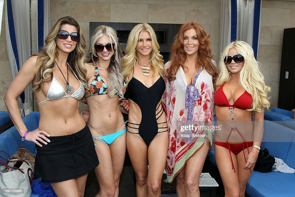Amber Smith, Amie Rose, Brande Roderick, and Colleen Shannon attend the grand opening of the Sapphire Pool & Day Club on May 5, 2013 in Las Vegas, Nevada.