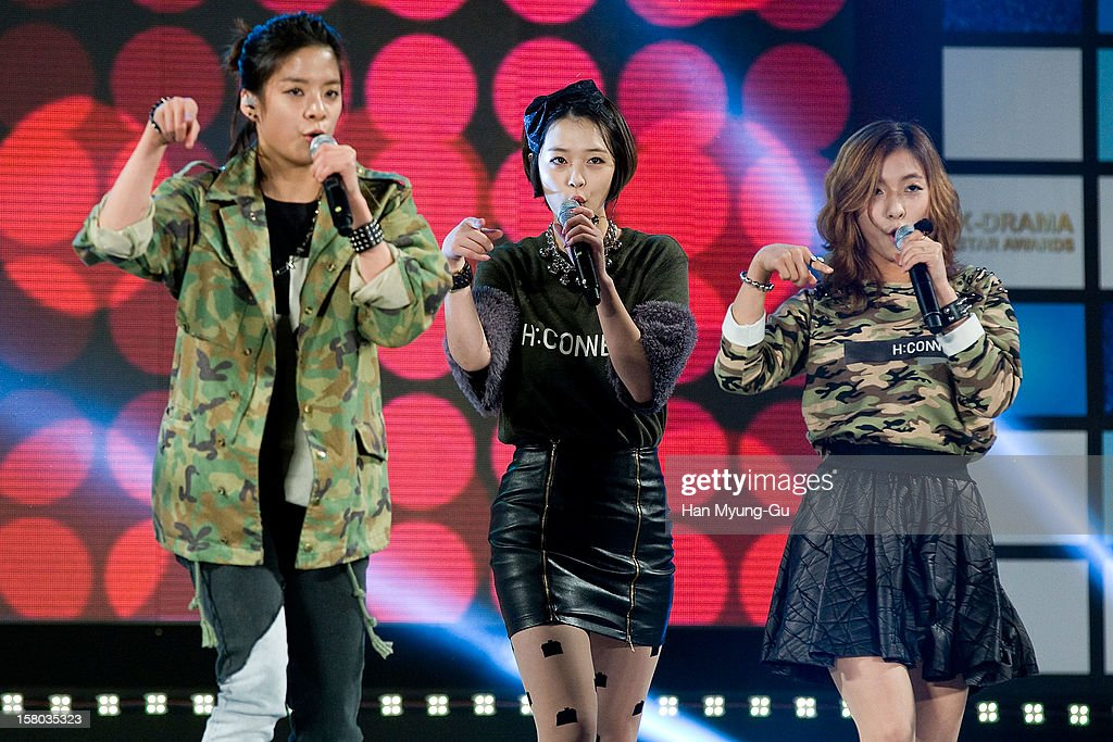 Amber, Sulli and Luna of South Korean girl group f(x) perform onstage during the 1st K-Drama Star Awards at Daejeon Convention Center on December 8, 2012 in Daejeon, South Korea.
