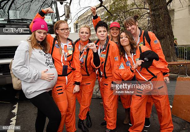 Amber Tamblyn Amy Schumer and guests attend the rally at the Women's March on Washington on January 21 2017 in Washington DC