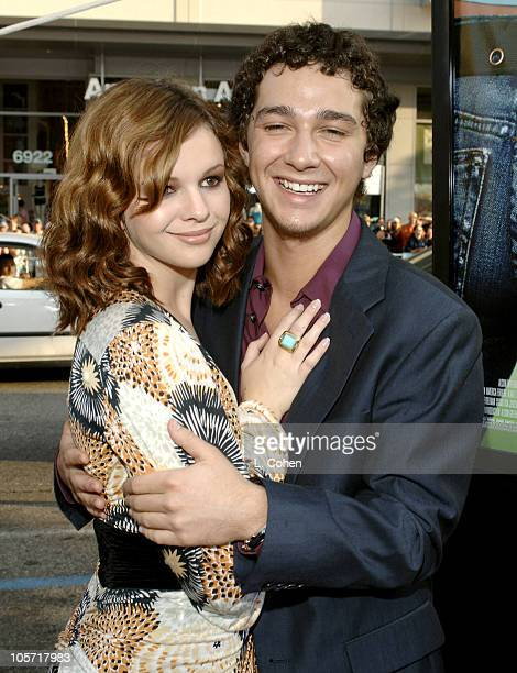 Amber Tamblyn and Shia LaBeouf during 'The Sisterhood of the Traveling Pants' Los Angeles Premiere Red Carpet at Grauman's Chinese Theatre in Los...