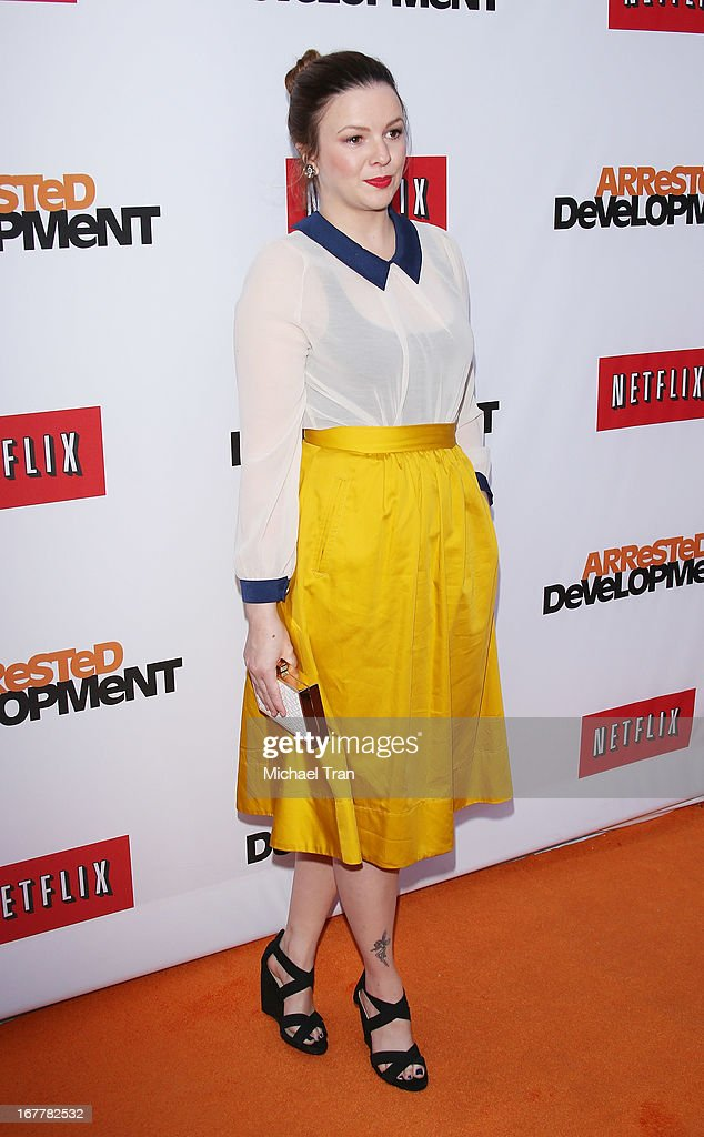 Amber Tamblyn arrives at Netflix's Los Angeles premiere of 'Arrested Development' season 4 held at TCL Chinese Theatre on April 29, 2013 in Hollywood, California.