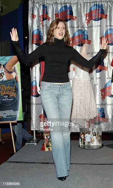 Amber Tamblyn during The Cast of 'The Sisterhood of the Traveling Pants' Donates Memorabilia at Planet Hollywood in New York City at Planet Hollywood...