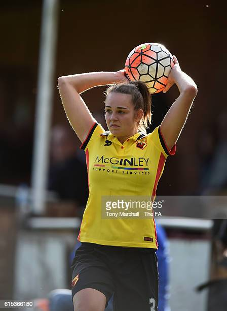 Amber Tullett of Watford Ladies takes a throw in during the FA WSL 2 match between Watord Ladies and Sheffield FC Ladies at Berkhamsted FC on October...
