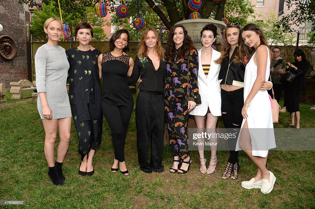 Amber Valetta, Maggie Gyllenhaal, Alicia Keys, Stella McCartney, Liv Tyler, Cara Delevingne and Miranda Kerr attend the Stella McCartney Spring 2016 Resort Presentation on June 8, 2015 in New York City.