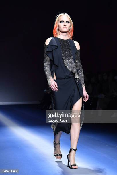 Amber Valetta walks the runway at the Versace show during Milan Fashion Week Fall/Winter 2017/18 on February 24 2017 in Milan Italy