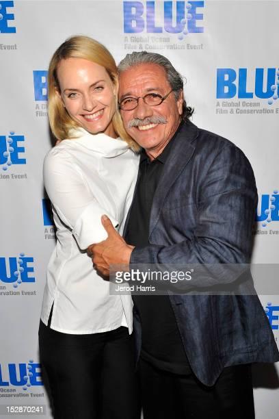 Amber Valletta and Edward James Olmos attend the Blue Ocean Film Festival on September 27 2012 in Monterey California