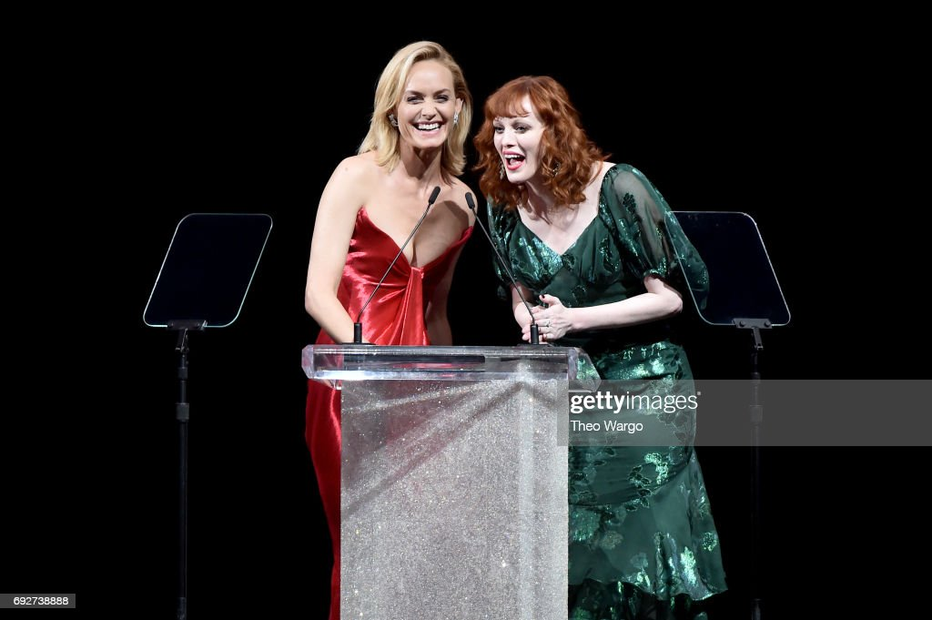 Amber Valletta and Karen Elson speak onstage during the 2017 CFDA Fashion Awards at Hammerstein Ballroom on June 5, 2017 in New York City.