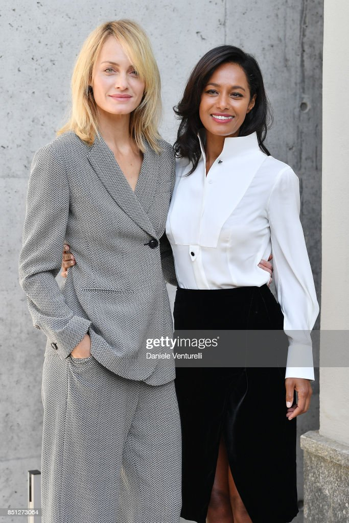 Amber Valletta and Rula Jebreal attend the Giorgio Armani show during Milan Fashion Week Spring/Summer 2018 on September 22, 2017 in Milan, Italy.