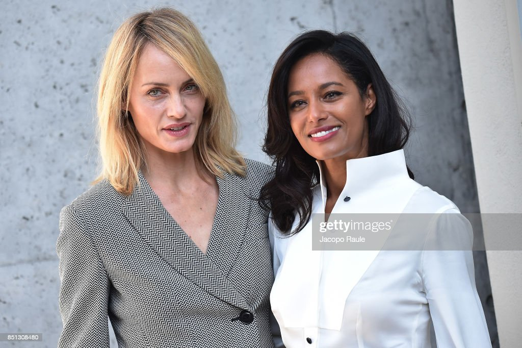 Amber Valletta and Rula Jebreal (R) attend the Giorgio Armani show during Milan Fashion Week Spring/Summer 2018 on September 22, 2017 in Milan, Italy.