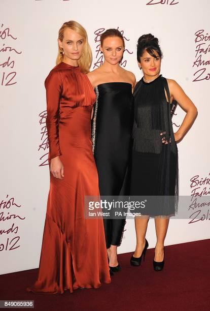 Amber Valletta and Selma Hayek Designer of The Year Stella McCartney at the 2012 British Fashion Awards at the the Savoy Hotel London