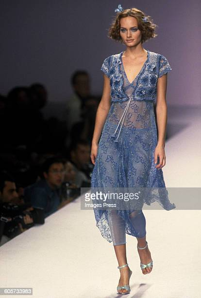 Amber Valletta at the Anna Sui Spring 1997 show circa 1996 in New York City