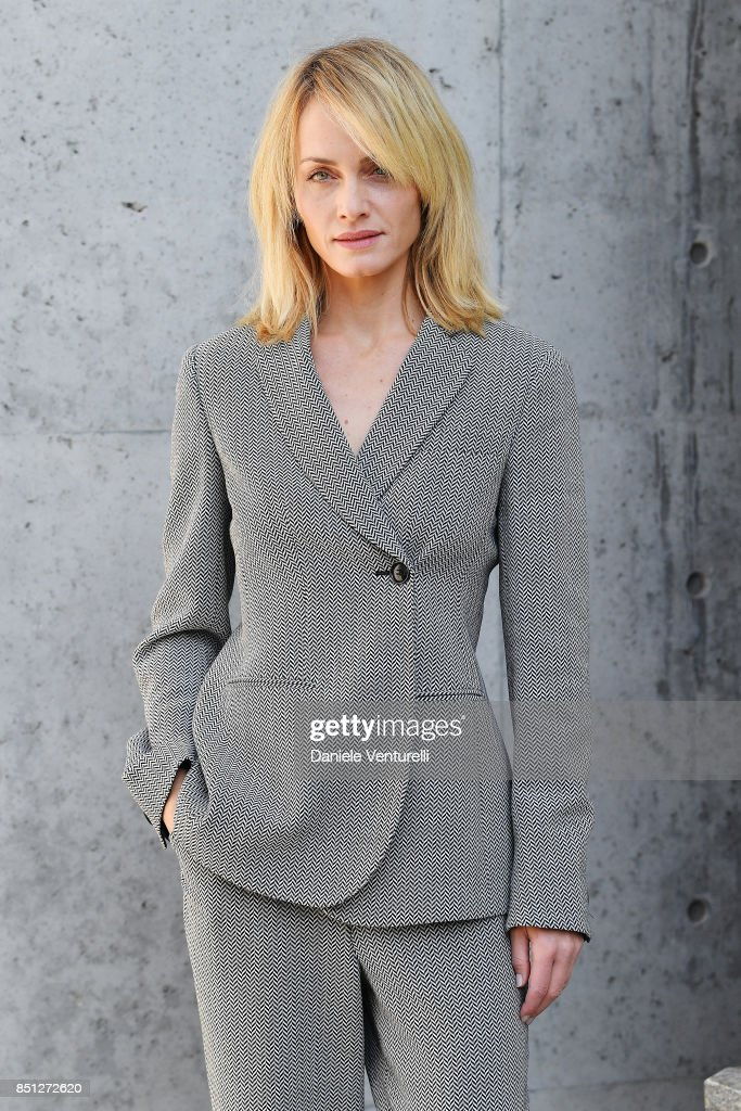 Amber Valletta attends the Giorgio Armani show during Milan Fashion Week Spring/Summer 2018 on September 22, 2017 in Milan, Italy.