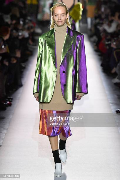 Amber Valletta walks the runway during the Dries Van Noten Ready to Wear fashion show as part of the Paris Fashion Week Womenswear Fall/Winter...