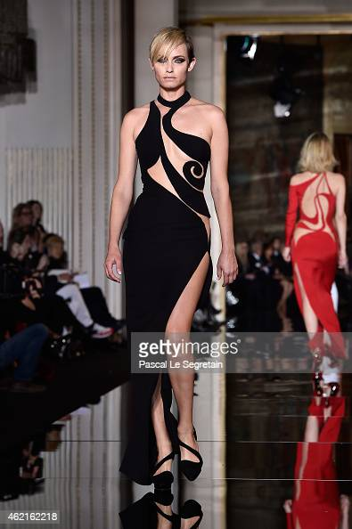 Amber Valletta walks the runway during the Versace show as part of Paris Fashion Week Haute Couture Spring/Summer 2015 on January 25 2015 in Paris...