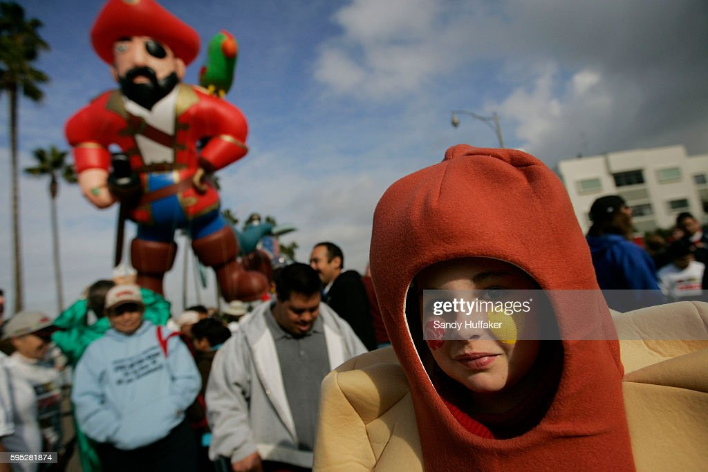 Amber Whitney dressed as a hot dog before participating in the Pacific Life Holiday Bowl Parade in San Diego California Arizona and Nebraska play in...