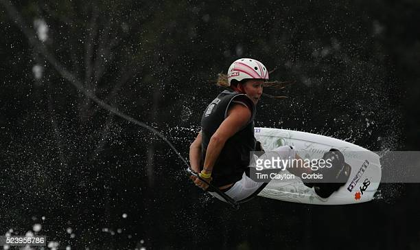 Amber Wing from Australia competing in the Professional Women's Final in the World Wakeboard Association World Championship 2005 at Marshall's Lagoon...