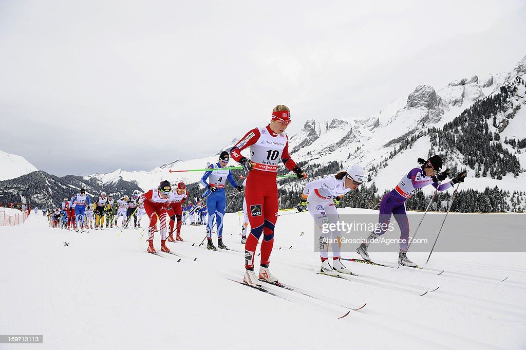 Ambiance during the FIS Cross-Country World Cup Women's Mass Start on January 19, 2013 in La Clusaz, France.