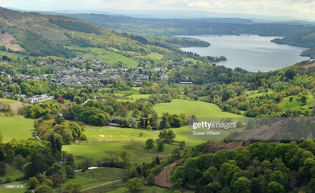 Ambleside & Windermere from Nab Scar : Stock Photo