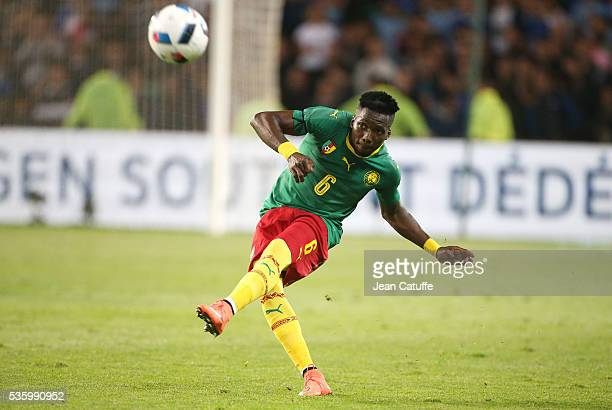 Ambroise Oyongo Bitolo of Cameroon in action during the international friendly match between France and Cameroon at Stade de La Beaujoire on May 30...