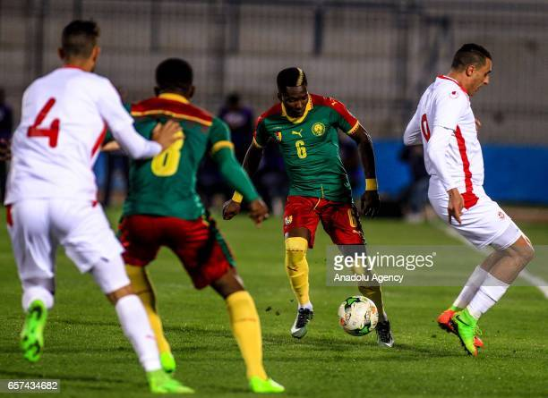 Ambroise Oyongo of Cameroon in action during the friendly football match between Tunisia and Cameroon at the Ben Jannet stadium in Monastir Tunisia...