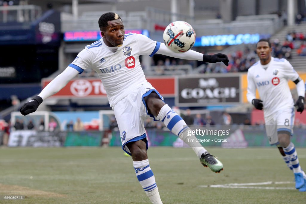 Ambroise Oyongo #2 of Montreal Impact in action during the New York City FC Vs Montreal Impact regular season MLS game at Yankee Stadium on March 18, 2017 in New York City.