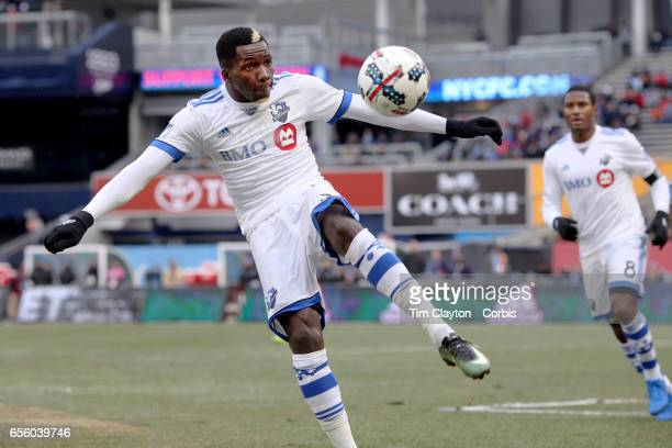 Ambroise Oyongo of Montreal Impact in action during the New York City FC Vs Montreal Impact regular season MLS game at Yankee Stadium on March 18...
