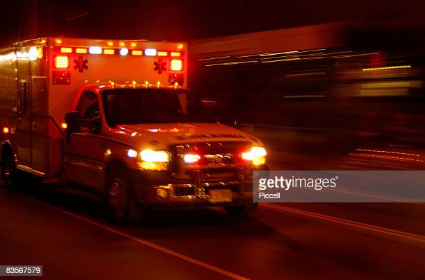 Ambulance at night, speeding