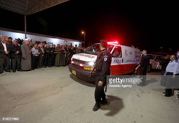 Ambulance carrying dead bodies of 16 Palestinians who lost their lives in overturned bus accident in Jordan on their way to Saudi Arabia for umrah is...