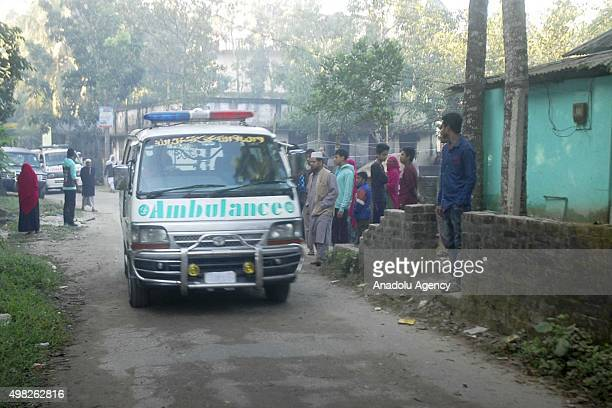 Ambulance carrying dead body of Jamaat e Islamis Secretary General Ali Ahsan Muhammad Mujahid is seen on the way to his ancestral home in Faridpur...