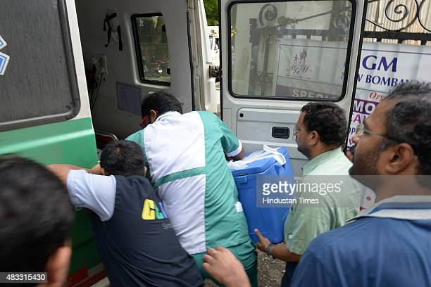 Ambulance carrying K Narayanan Kutty Nair's heart from MGM hospital Vashi to Fortis Hospital Mulund via green corridor on August 72015 in Navi Mumbai...