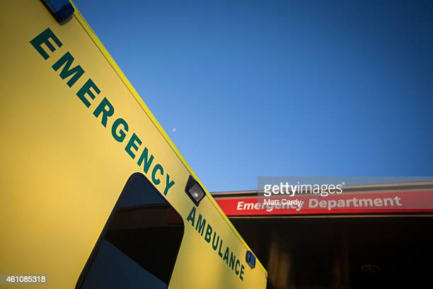 A ambulance is parked outside the Accident and Emergency department of Gloucestershire Royal Hospital on January 6 2015 in Gloucester England The...