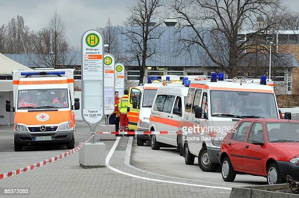 Ambulance is seen at the crime scene at the AlbertvilleSchool Centre on March 11 2009 in Winnenden near Stuttgart Germany According to media reports...