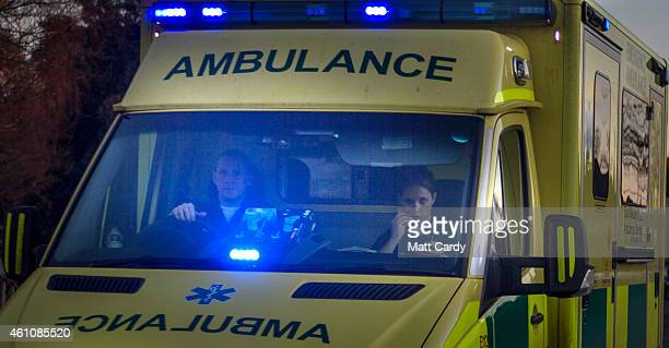 A ambulance leaves the Accident and Emergency department of Gloucestershire Royal Hospital on January 6 2015 in Gloucester England The hospital is...