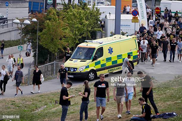 Ambulance stationed outside the arena before the allsvenskan match between Hammarby IF and AIK at Tele2 Arena on July 24 2016 in Stockholm Sweden