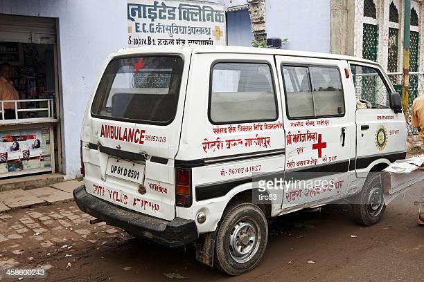 Ambulance van parked on Varanasi street in India
