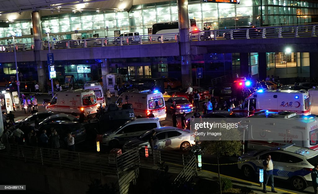 Ambulances and security blocks the road towards Turkey's largest airport, Istanbul Ataturk, after it was hit by a suicide bomb attack on June 28, 2016, Turkey. Three suicide bombers opened fire before blowing themselves up at the entrance to the main international airport in Istanbul, killing at least 28 people and wounding at least 60 people according to Justice Minister Bekir Bozdagç.