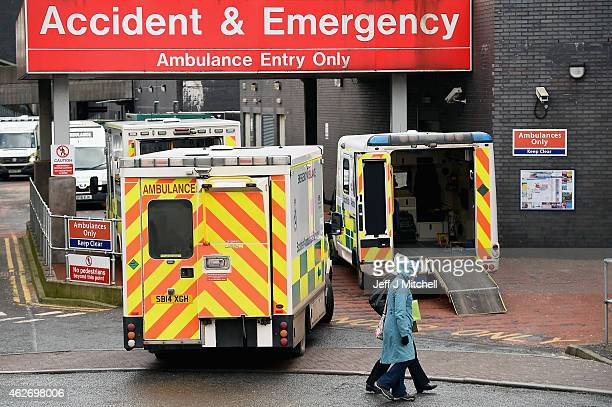 Ambulances are parked at the entrance to Glasgow Royal Infirmary accident and emergency on February 3 2015 in Glasgow Scotland Figures released today...