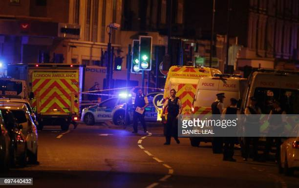 Ambulances arrive in the Finsbury Park area of north London where a vehichle hit pedestrians on June 19 2017 Several people are injured police said...
