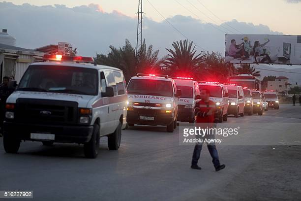 Ambulances carrying dead bodies of 16 Palestinians who lost their lives in overturned bus accident in Jordan on their way to Saudi Arabia for umrah...