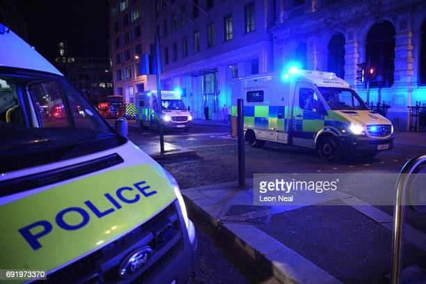 Ambulances heads north from London Bridge on June 3 2017 in London England Police have responded to reports of a van hitting pedestrians on London...