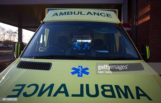 A ambulances is parked outside the Accident and Emergency department of Gloucestershire Royal Hospital on January 6 2015 in Gloucester England The...