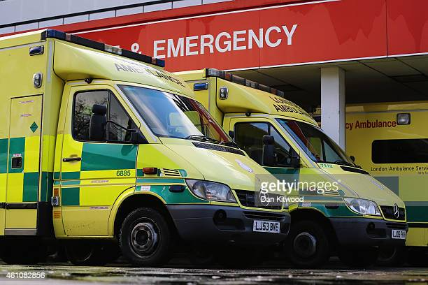 Ambulances park outside the Accident and Emergency ward at St Thomas' Hospital on January 6 2015 in London United Kingdom Figures released suggest...