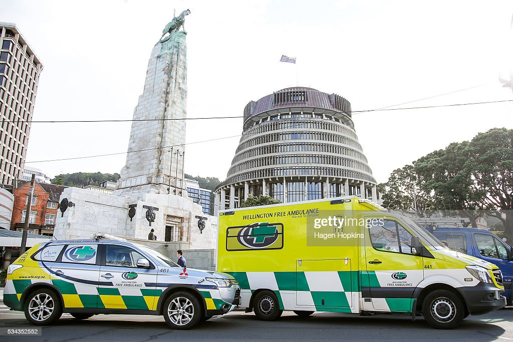 Ambulances wait on Lambton Quay following an incident at Parliament on May 26, 2016 in Wellington, New Zealand. Police have blocked off the Parliamentary forecourt and the front entry point because of a truck stationed outside the Beehive, and have taken a man into custody following the incident on Thursday morning, the day of the national Budget release.