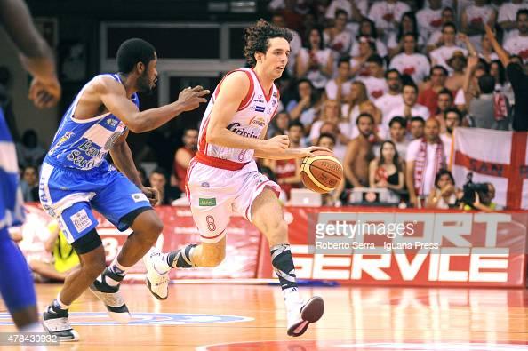 Amedeo Della Valle of Grissin Bon competes with Jerome Dyson of Banco di Sardegna during the match between Grissin Bon Reggio Emilia and Banco di...