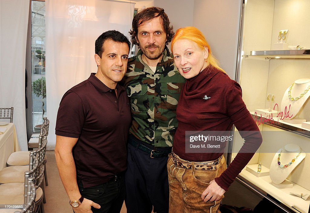 Amedeo Scognamiglio, Andreas Kronthaler and Dame Vivienne Westwood attend the 12th birthday of New York jewellery house Fararone Mennella, with guest of honour Patricia Field, at their Knightsbridge store on June 13, 2013 in London, England.