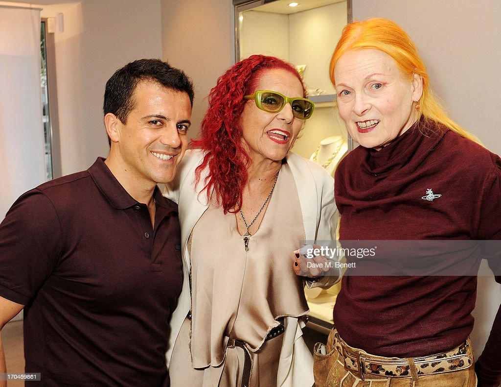 Amedeo Scognamiglio, Patricia Field and Dame Vivienne Westwood attend the 12th birthday of New York jewellery house Fararone Mennella, with guest of honour Patricia Field, at their Knightsbridge store on June 13, 2013 in London, England.