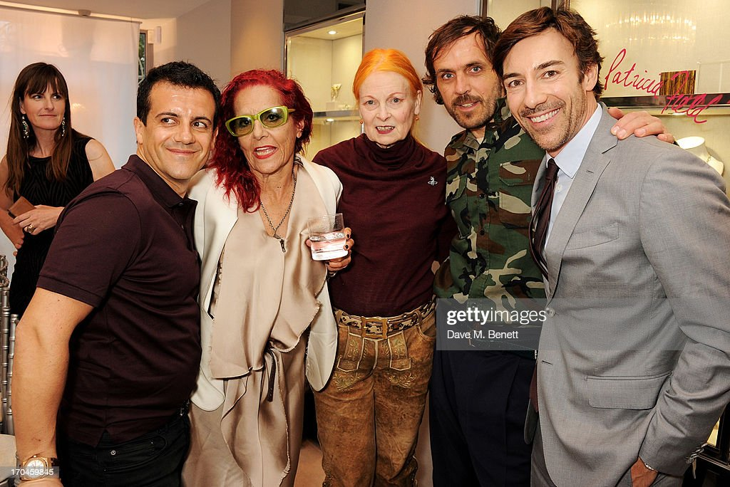Amedeo Scognamiglio, Patricia Field, Dame Vivienne Westwood, Andreas Kronthaler, and Roberto Faraone Mennella attend the 12th birthday of New York jewellery house Fararone Mennella, with guest of honour Patricia Field, at their Knightsbridge store on June 13, 2013 in London, England.